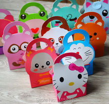 Cute little animal Handle biscuit box, cookies box,cake box, gift box 30pcs/lot(China)