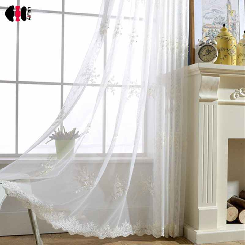 Cute Natural Cotton Linen Pearl Lace Solid Sheer Voile Curtain For Bedroom Study Room WP226C