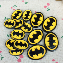 Two Sizes 10 Pieces Flat Back Resin Cabochon Cartoon Batman Logo DIY Flatback Decorative Craft Embellishment Hair Bow Center