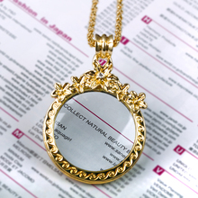 New look Flower blossom 2x Magnifying Glass Fashion Cute Look Alloy metal Jewelry gift Women Reading Glass Crystals Necklace(Hong Kong,China)