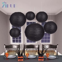 Zilue 10pcs/Lot Round Paper Lantern Black Color Paper Lantern Lamps Party Suppliers Halloween Days Easter Lantern Decoration(China)
