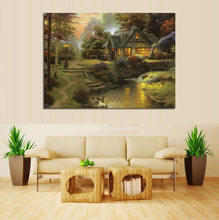 Thomas kinkade cottage by river pastoral landscape painting canvas prints custom wholesale and dropship is welcomed(China)