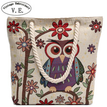 Vintage Embroidery Women Shoulder Bag Owl Elephant Print Canvas Beach Bag Big Capacity Totes Shopping Bags Girl Christmas Gift(China)