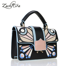 ZackRita Woman's Elegant Nice Vintage Butterfly Leather Patchwork Casual Office Shoulder Bags Hand Bag Handtas B57