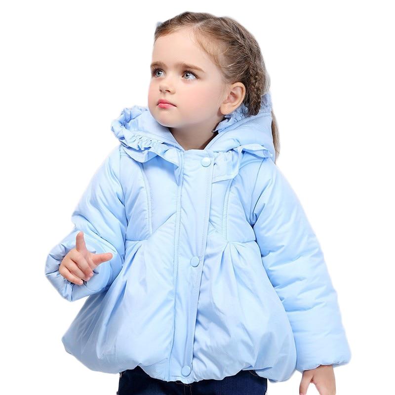 Buenos Ninos Cute Candy-color Winter Outerwear Children Warm Down Jacket Girls Parkas Falbala hooded Thickening CoatsÎäåæäà è àêñåññóàðû<br><br>