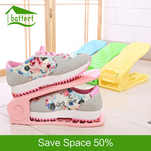 Plastic Shoes Storage Rack Double Adjustable Cleaning Save Space Shoe Holder Shoes Organizer Living Room Convenient Stand Shelf(China)