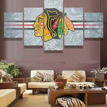 5 Panel Chicago Blackhawks Sports Logo Oil Painting On Canvas Modern Home  Pictures Prints Liveing Room
