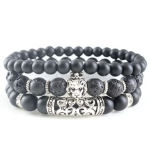 New Fashion Mens Sets Jewelry Wholesale Black Lava Stone Lucky Energy Beaded Bracelets Natural Bead Bangles Yoga Gifts