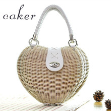 Carker 2017 Women Summer Mini Heart Shape Totes Bags Female Red White Hand-Made Knitting Handbags Lady Beach Bag For Holiday(China)