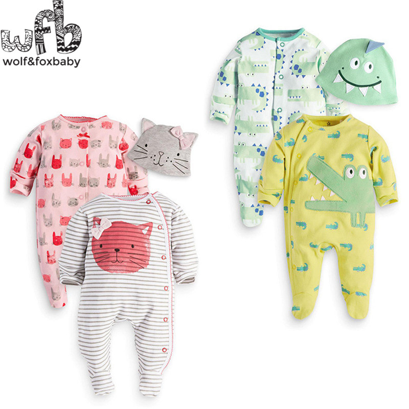 Retail 1-3years 3pieces/set=2pcs romper+cap long-Sleeved Baby boys girls cartoon  kids Infant jumpsuits fashion spring fall<br><br>Aliexpress