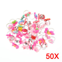 50 Pcs Lots Bulk Mixed Metal Children Kids Girls Cartoon Animal Flowers Fruit Finger Rings Cute Gifts M08