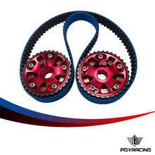 PQY RACING- HNBR Racing Timing Belt Blue + Aluminum Cam Gear Red FOR B18C Integra GSR / Type-R PQY-TB1003B+6532R(China)