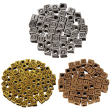 LNRRABC Hot 6mm Vintage Acrylic Square Beads Letter/Alphabet For Jewelry Making DIY Coffee/choker/men jewelry Color(China)