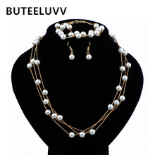 BUTEELUVV Imitation Pearl Jewelry Sets Romantic Bead Bracelet Minimalist Tassel Chain Necklace Wedding 3 pcs Jewellery Set Women