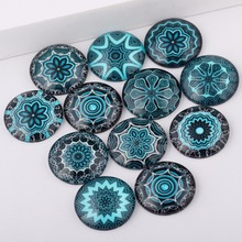reidgaller mix blue mandala photo glass cabochon 10mm 12mm 14mm 18mm 20mm 25mm diy earrings pendant accessories