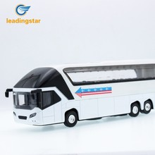LeadingStar 1:32 Simulation Alloy Tourist Bus Sound and Light Passenger Train Double-decker Bus Kids Toys Christmas Gift zk40(China)