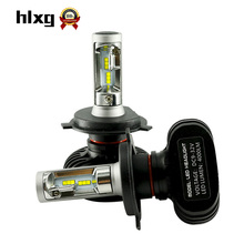 hlxg 2PCS H4 Led Bulbs All In One Auto Car Headlight High Low Beam 50W 8000LM 12V 24V Fog Light Kit Super Bright Car Replacement