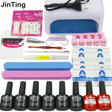 Nail Art Manicure Tools 36W UV Lamp + 6 Color 35g soak off Gel base gel top coat polish and Remover Practice set File kit