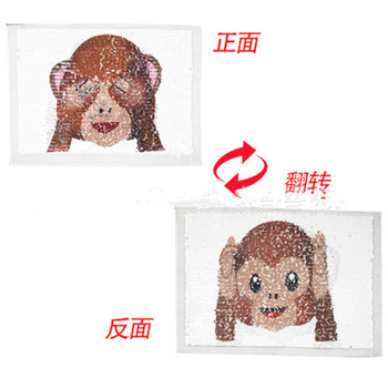 2017 NEW Monkey Reversible Change color Sequins Sew On Patches for clothes DIY Patch Applique Bag Clothing Coat Sweater Crafts