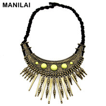 MANILAI Bohemia Statement Necklaces Black Leather Knit Chains Vintage Metal Resins Pendants Chokers Necklaces For Women