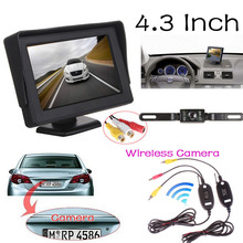 YeHeng store 4.3 inch Auto Video Parking Reverse Display Monitor + Wireless Car Backup CCD Camera Rear View System Night Vision(China)