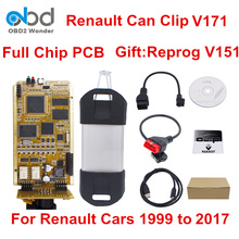 DHL Free For Renault Can Clip Full Chip V171 OBD2 Diagnostic Interface Can Clip Scanner Gold PCB For Renault Cars 1999 to 2017