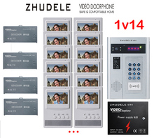 "ZHUDELE Building Home security intercom system 14 Units Apartment Video Door Phone Bell Intercom System 4.3""TFT monitor IN STOCK"