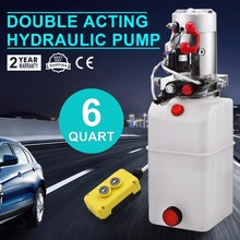 2200W Double-Acting Hydraulic Pump Power Pack with Controller - 12 VDC 6 Quart plastic Reservoir for Dump Trailer