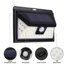 44 LED Solar Light Outdoor LED Garden Light White Light PIR Motion Sensor Solar Powered Security Night Pathway Wall Lamp