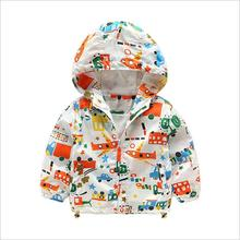 Baby Boys Jackets Children Hooded Dinosaur Printed Boys Outerwear Coat Kids Windbreaker Clothes