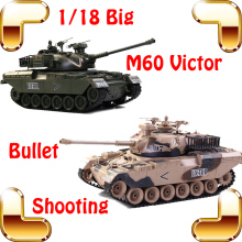 New Coming Gift COLLIDE M60 Victor Battle Tank 18 Channels 1/18 RC Big Tank Remote Control Bullet Shooting Tank RC BIg Model Toy(China)
