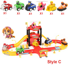 Puppy Dogs DIY Assemble Race Track With Car Kids Handwork Parking Lot Toy Car Game Car Racing Track Toys For Children Toys(China)