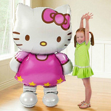 1PC 110*64cm large cartoon KT cat foil balloons kids Birthday Wedding Party decor baby shower air globos inflatable toys balls(China)