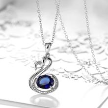 Women's Silver Plated Zircon Love Swans Pendant Necklace Chain Fashion Fine Jewelry Wholesale Gifts Collection For Women