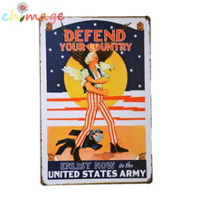 Defend your country enlist now in the UNITED STATES ARMY Vintage Tin Sign Bar pub home Wall Decor Retro Metal Art Poster