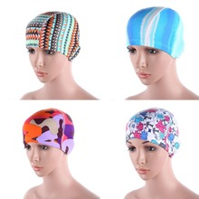 Women Lady Floral Printed Waterproof Spandex Patterned Stretch Swimming Cap Bathing Hat New Arrival