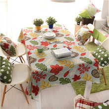 Retro Vintage Table Tablecloth multifunctional design dustproof linen color printing party wipe green beauty flowers cloth XM