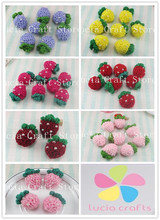 2pcs 3*4.8cm Handmade Knitting Strawberry patch Sew-on Cotton Crochet Flower DIY Headwear Accessory 20010101(3*4.8D2)