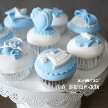 Set of 8pcs Handmade Blue Simulation Cupcake, 1st Birthday Party Cake Model, Artificial Fondant Cakes, Photography props~