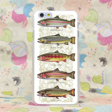 370HJ Five Trout Panel Painting Fish Hard Transparent Case Cover for iPhone 4 4s 5 5s SE 5C 6 6s Plus 7 7 Plus