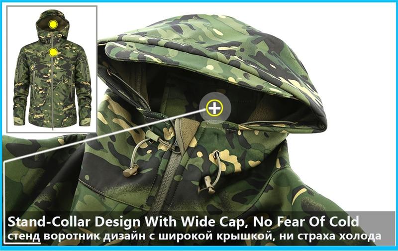 Mege Shark Skin Soft Shell Military Tactical Jacket Men Waterproof Army Fleece Clothing Multicam Camouflage Windbreakers 4XL 8
