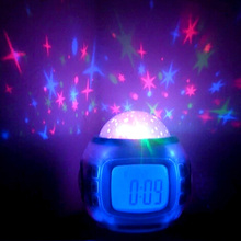 Starry Digital Clock Magic LED Projection Alarm Clock Night Light Color Changing Home Decor Music/Natural Sounds Alarm Clocks
