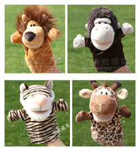 Story toy 1pc 25cm forest tiger lion giraffe orangutans hand puppets plush sleeping pacify educational baby infant gift