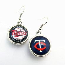 New Arrival Double Baseball Drop Earrings Minnesota Twins Team Logo Drop Earrings For Women Jewelry 10pairs/lot(China)
