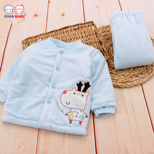 Baby Warm Clothing Set for Boys Girls Thickening Winter Sleepwear Toddler Boys Clothes Infant Velvet Warm Pajamas Tracksuit(China)