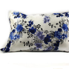1PC One-sided 100% Chinese Mulberry Silk Pillowcase Smooth Soft Solid Floral Printed Pillow Case Adult 48x74cm(China)