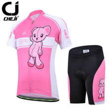 CHEJI Pink Bear Girls' Cycling Jersey and Shorts Set Children Bicycle Sportswear MTB Clothing For Kid Reflective Protective Pad