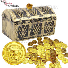 50pcs Pirates Gold Coins Gift For Kid Boy Birthday Party Supplies Treasure Coins Pretend Treasure Chest 5ZHH204(China)