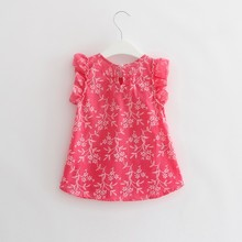 0-5Y New Toddler Kid Baby Girl Beach Floral T Shirt Princess Party Pageant Dress Top P1(China)