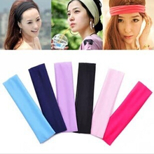 Free Shipping Wide Variety of plain hair band headband elastic headband sports yoga towel color optional A256(China)